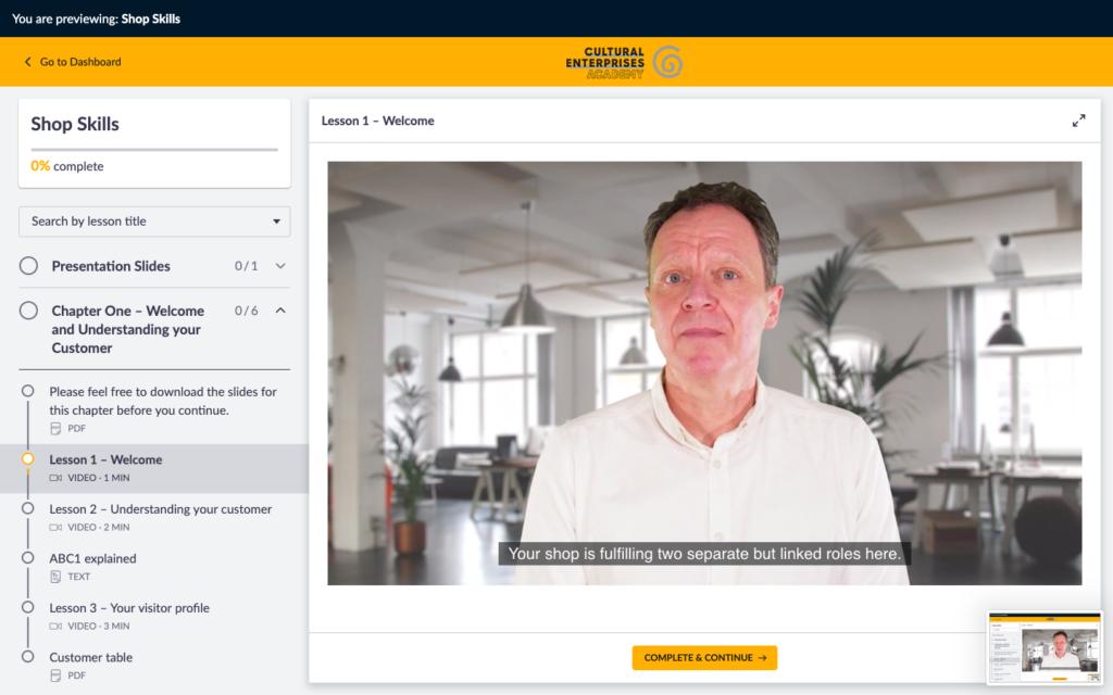 Screenshot of an Online Academy Course